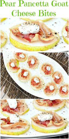So Easy to put together and a big hit at my party! Healthy Pear Pancetta Goat Cheese Appetizer Bites - Low Calorie, Low Fat Recipe