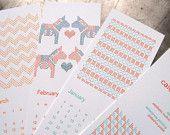 SALE 2012 Cross Stitch Calendar, letterpress. $20.00, via Etsy.