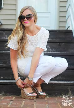 White on White + Metallic Wedges