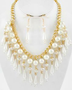 Gold Tone / Cream Synthetic Pearl & Ab Glass Crystal / Lead&nickel Compliant / Charm / Necklace & Fish Hook Earring Set