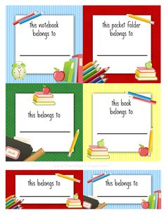 Free back to school book labels for kids