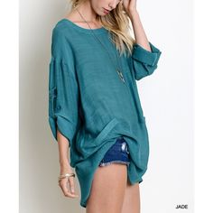 """Wild Roses"" Linen Tabbed Sleeve Tunic Top Tunic top with tabbed sleeves. Pair with denim and pumps. Partially sheer. 60% cotton, 40% polyester. True to size but a loose fit. Imported. Available in blush, jade and taupe. This listing is for the JADE. Brand new. True to size. NO TRADES. Bare Anthology Tops Blouses"