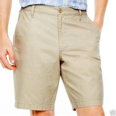 IZOD Flat-Front Schiffli Shorts Bright White Fishy MSRP $64.00 Size 30W  New