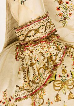 Sleeve Detail embroidered as two separate pieces of a Sacque gown a la Piedmontese, ca. 1780, Italy.