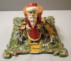 Antique German Iron Christmas Tree Stand Cast Iron Belsnickle Santa 1900   eBay