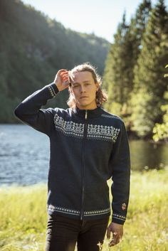 Discover Norway in Norlender Knitwear - Contemporary Norwegian Knitwear  Nusfjord is a classical and elegant man's cardigan with zip opening and a Norwegian pattern across the front and back. The garment is light weight and perfect for indoor and outdoor activities. The jacket comes in two colorways and sizes S-XXL. Elegant Man, Charcoal Color, Outdoor Activities, Norway, Knitwear, Bomber Jacket, Indoor, Man Shop, Pure Products