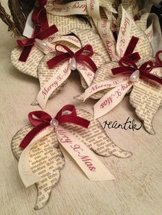 "These are really lovely festive decor. But wish they had not taken the ""Christ"" out of Christmas. Christmas 2019, Merry Christmas Wishes, Christmas Party Games, White Christmas Ornaments, Christmas Angels, Christmas Tag, Handmade Christmas, Christmas Projects, Christmas Wreaths"