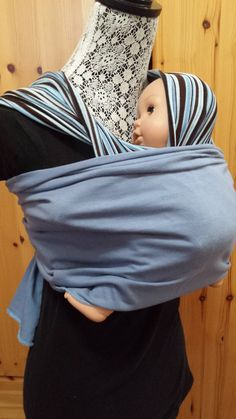 Stretchy 2 in 1 baby carrier nursing cover, UCHI Twist carrier, easy, no fuss baby wrap, striped blue and brown by UchiWraps on Etsy Kangaroo Care, Critical Care Nursing, Mamas And Papas, Baby Wraps, Blue Stripes, Cotton Spandex, Infinity, Brown, Cover