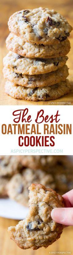 Best Oatmeal Raisin Cookies Literally The Best Oatmeal Raisin Cookies Ever!Literally The Best Oatmeal Raisin Cookies Ever! Köstliche Desserts, Delicious Desserts, Dessert Recipes, Chocolate Chip Cookies, Oatmeal Rasin Cookies, Chocolate Chips, Oatmeal Raisin Muffins, Oatmeal Raisins, Homemade Oatmeal Cookies