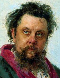 Repin, Modest Petrovich Mussorgsky retrato. El compositor ruso retrato pocos días antes de su muerte. Uno puede ver, las pistas inesorabbili y devastadores del alcoholismo