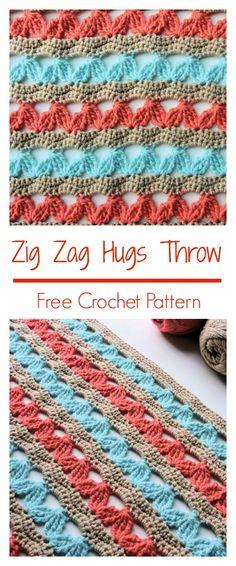 Zig Zag Hugs Lap Throw   CrochetKim Free Crochet Pattern in @redheartyarns Baby Hugs Light #freecrochetpattern #redheartyarn #redheartyarns #babyhugs #throw #blanket #afghan