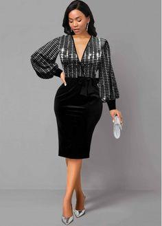 Trendy Dresses, Sexy Dresses, Dresses For Sale, Dresses For Work, Nice Dresses, V Neck Black Dress, Latest Dress For Women, Club Party Dresses, Looks Black