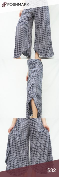 "Palazzo Pants Soft and flowy rayon fabric. Beautiful blue and grey pattern.  Wide leg with great curved hemline. Elastic back waistband.  Length is 37"".  Inseam is 26"".  Waistband measures 14"" unstretched.  Maximum stretch to 17"". Fits sizes s/m. Pants Wide Leg"