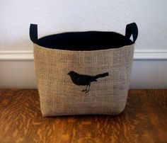 Coffee Sack Bird Basket