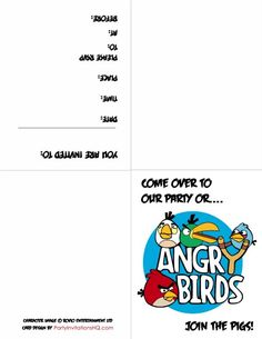 Free Printable Angry Birds Birthday Invitations