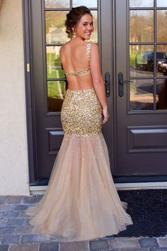 J84 Prom Dresses,Golden Sequins Beaded Prom Dress,Sexy Mermaid Long Prom Dresses Backless - Thumbnail 1