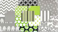 the nursery colors: spring green and gray (with pops of white and black)  loooove the chevron gray, green links, and printed elephants