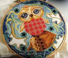Owl Michelle Palmer: Punch Needle oak leaves acorn starry night sky