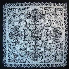 The Queen - Tablecloth/Centerpiece    Romanian Point Lace technique - created by basting crochet braid on a fabric pattern and by adding different types of needle embroidery and bridges to fill the area between cords.