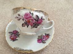 Tea Cup & Saucer Luster Pink & Gray Flowers Gold Trim