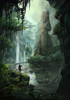 Mayan Jungle, TJ Foo on ArtStation at https://www.artstation.com/artwork/mayan-jungle