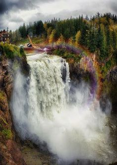 Hike to the bottom of Snoqualmie Falls, Washington. Look at the rainbow. Awesomeness.