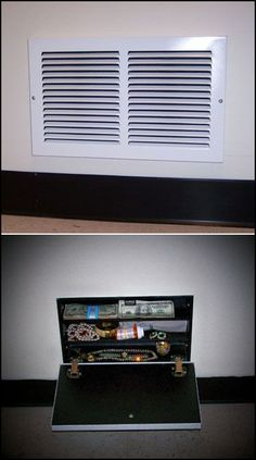 15 Secret Hiding Spots In Your Home Got some cash or valuables to hide? Try one of these clever, simple ways to hide those items from all but the Secret Storage, Gun Storage, Hidden Storage, Food Storage, Secret Space, Secret Rooms, Secret Hiding Spots, Hidden Safe, Hidden Gun