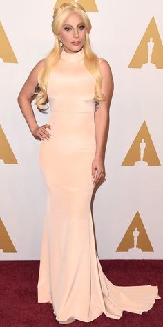 Lady Gaga Stuns in a Custom Christian Siriano Gown at Oscars Luncheon from InStyle.com