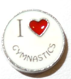 10 Count - I #Love Gymnastics #Floating #Charm to be used inside floating lockets. #floating #charm #locket #personalized #supplies #memory #expression #special #gift #love #chrome #summer #flower #yellow #nature