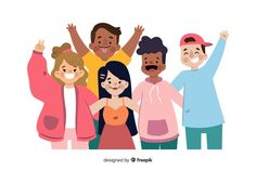 Group of young people posing for a photo Free Vector People Illustration, Flat Illustration, Vector Illustrations, Vector Design, Vector Art, Vector Graphics, Design Design, Graphic Design, Fotos Free