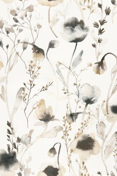 Soft and pastoral, this lovely wallpaper is the perfect mix of transitional style in a watercolor floral pattern. Featuring light-reflecting vibrancy, the ethereal pattern works great in bedrooms and living spaces. Artistic Wallpaper, Modern Wallpaper, Aesthetic Iphone Wallpaper, Aesthetic Wallpapers, Hallway Wallpaper, Neutral Wallpaper, Brown Wallpaper, Beautiful Wallpaper, Iphone Background Wallpaper