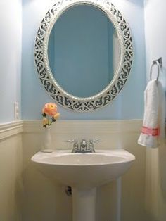 Powder Room only opposite.  I want the blue on the bottom of the chair rail and the white on top.