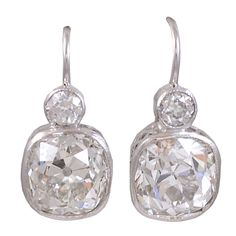 Cushion Cut Old Mine Diamond Earrings  | From a unique collection of vintage dangle earrings at http://www.1stdibs.com/jewelry/earrings/dangle-earrings/