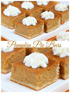 Switch up your typical pumpkin pie recipes and try these pumpkin pie bars - only 6 ingredients needed!