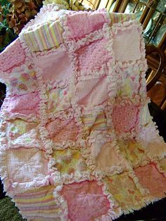 Cute rag quilt tutorial found on creationsfromtheheartblog