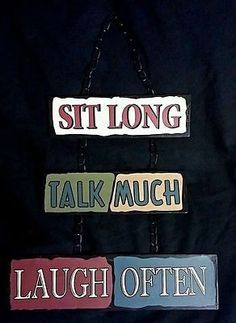 Porch Dining Hanging Sign Sit Long Talk Much Laugh Often Woman Cave Mother's Day