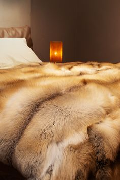 Golden Island fox fur blanket , premium quality, custom made in any size & shape