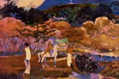Women and white horse by @paul_gauguin #postimpressionism
