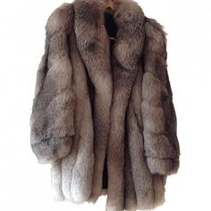 FOX FUR JACKET MARQUE NON SIGNEE ($1,021) ❤ liked on Polyvore featuring outerwear, jackets, coats, fur, fox fur jacket and brown jacket