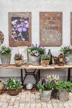Flower shop: Sofiero offers a fabulous va . Flower shop: Sofiero offers a fabulous beautiful exhibition Garden Cottage, Garden Pots, Garden Table, Rustic Gardens, Outdoor Gardens, Deco Champetre, Farmhouse Front Porches, Vintage Table, Vintage Outdoor Decor