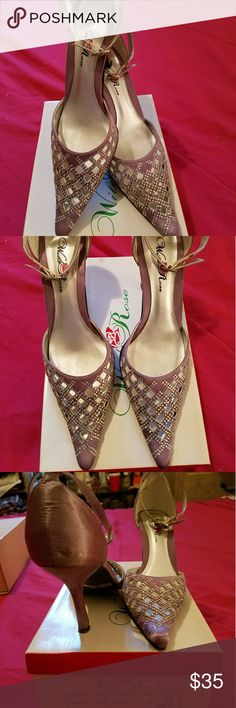 Women's satin rhinestone heels Shinny,silky,sexy ankle strapped heels, gently worn 3x's, great wear for after 5 engagements wild rose Shoes Heels