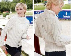 Белый свитер с широкой косой схема .Связать свитер спицами с высоким горлом. | Я Хозяйка