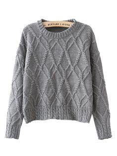 Gray Twist Pattern Long Sleeve Crop Knit Sweater | Choies