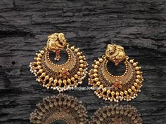 Peacock chandbali earrings, antique gold peacock earrings, ramleela peacock earrings, antique gold over sized chand bali earrings Gold Jhumka Earrings, Jewelry Design Earrings, Gold Earrings Designs, Gold Jewellery Design, Ear Jewelry, Wedding Jewelry, Jewelry Sets, Jewelery, Peacock Earrings