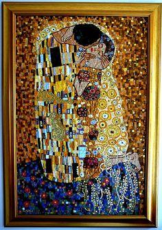 "Gustav Klimt ""the kiss"" Gustav Klimt, Klimt Art, The Kiss, Cigar Art, Mosaic Animals, Mosaic Artwork, Picasso Paintings, Art Techniques, Art Studios"