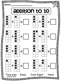 Addition to 10 differentiated worksheets that show addition in so many different ways! Perfect! Ten frames to help students visualize the numbers they're adding