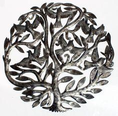"Metal Tree of Life Haiti Art Metal Wall Artwork Oil Drum Haitian Handicrafts 24"" | Home & Garden, Home Décor, Wall Sculptures | eBay!"