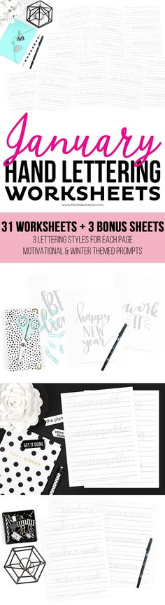 Get started with your Hand Lettering new year's goals with these January Hand Lettering Worksheets! Lettering Styles, Brush Lettering, Creative Lettering, Crafts For Teens To Make, Diy And Crafts, Wood Crafts, Bullet Journal Printables, Dollar Store Crafts, Graphic Design Tutorials