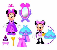 Fisher-Price Disney's Princess Bowtique Minnie Mouse by Fisher Price. $14.12. Accessories include a small tiara, princess hat and shoes. Includes one dress up Minnie figure. Style Minnie anyway you want with snap and fit clothing in her Princess Bowtique. Includes a pink dress, a short princess dress and a blue bow dress. 11 play pieces in all. From the Manufacturer                Its princess dress up time. Dress and style Minnie anyway you want with snap and fit cloth...