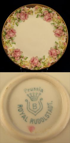 Cabbage Rose Plated Marked Royal Rudolstadt Prussia